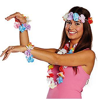 Hawaii set 3pcs flower chain flower bracelet flower headband Hula accessories