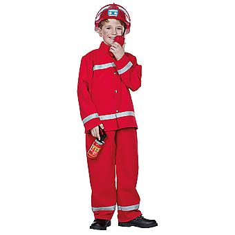 Fireman red suit children boy fire fighter costume Carnival