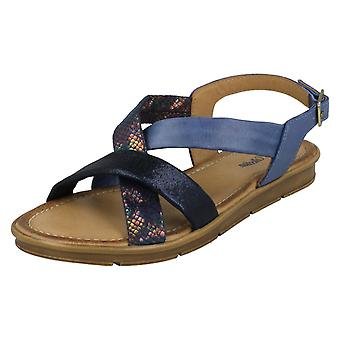 Ladies Leather Collection Flat Slingback Sandals F00035