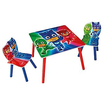 Set table and 2 chairs wood Superpigiamini Pj Masks