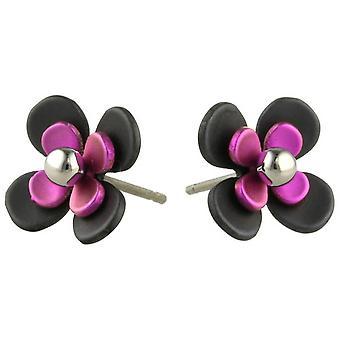 Negro de titanio Ti2 atrás cuatro pétalos flor pendientes - rosa caramelo