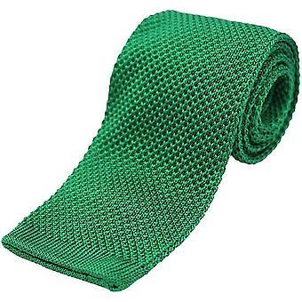 David Van Hagen Plain Knitted Silk Tie - Emerald Green