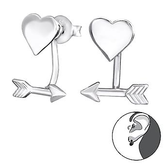 Heart & Arrow - 925 Sterling Silver Ear Jackets & Double Earrings - W29601x