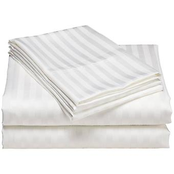 100% Cotton White Stripe Flat Bed Sheet With 2 Pillow Cover (300tc)