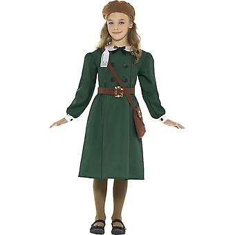 WW2 Evacuee Girl Costume, Green, with Dress, Hat, Bag & Name Tag