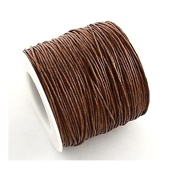 1 x Brown Waxed Cotton 5m x 1mm Thong Cord Continuous Length Y06115