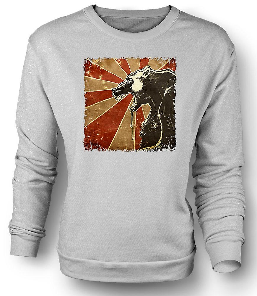 Mens Sweatshirt Russian Bear - Cool Retro Poster
