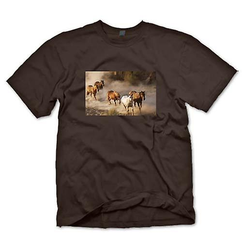 Herr T-shirt-jäktande hästar Prairie Design
