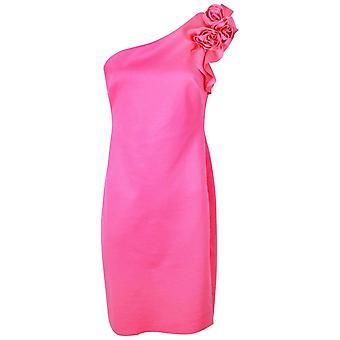 Frank Lyman Pink Rose Detail One Shoulder Dress
