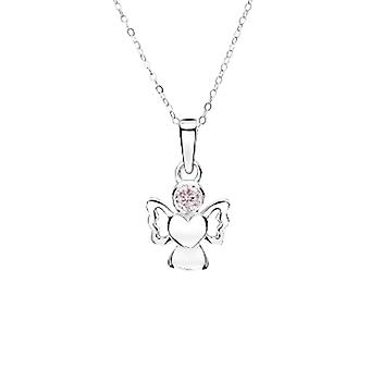 Jo For Girls Sterling Silver October Simulated Birthstone Angel Pendant Necklace