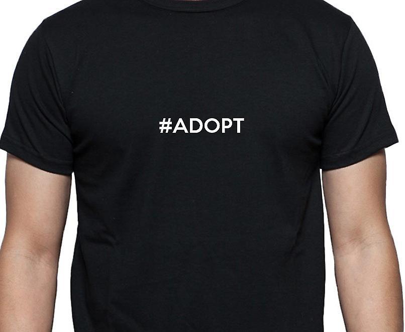 #Adopt Hashag Adopt Black Hand Printed T shirt