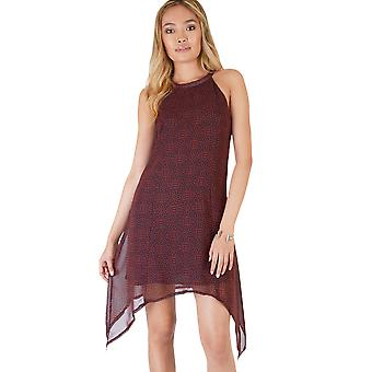Danity Maroon Chiffon Dress With Curved Hemline