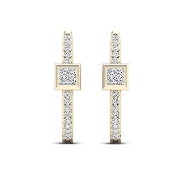 IGI-Certified-DeCouer-1/3-Ct-TDW-Diamond-10K-Yellow-Gold-Hoop-Earrings-(H-I,-I2)