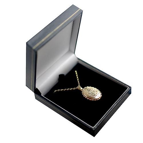 9ct Gold 23x16mm oval hand engraved twisted wire edge Locket with a belcher Chain 16 inches Only Suitable for Children