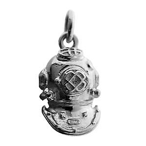 Silver 18x12mm solid Deep Sea Divers Helmet charm