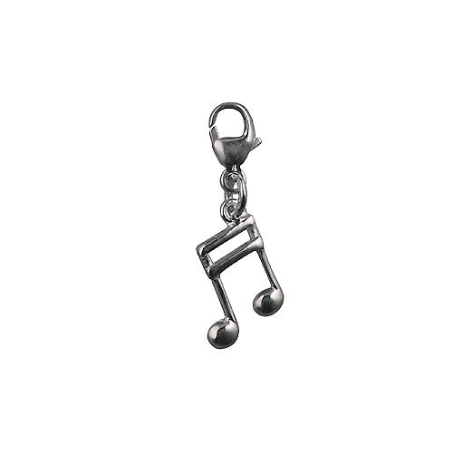 Silver 24x9mm Semi Quaver musical note Charm on a lobster trigger