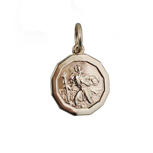 9ct Gold 13x13mm dodecagonal St Christopher Pendant
