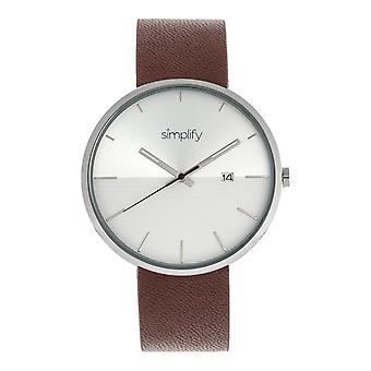 Simplify The 6400 Leather-Band Watch w/Date - Silver/Brown