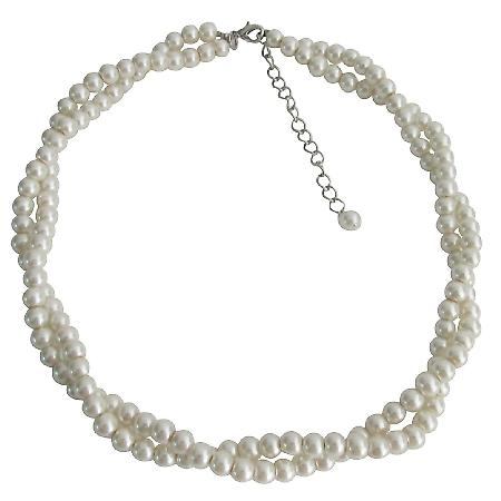 Flower Girls Two Strand Necklace Ivory Pearl Twisted Necklace