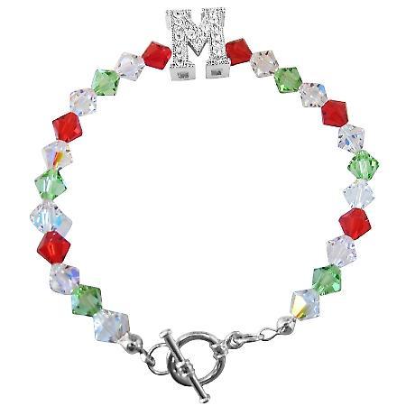 M Charm Swarovski Siam Red Peridot & AB Bicone Crystal 6mm Bracelet
