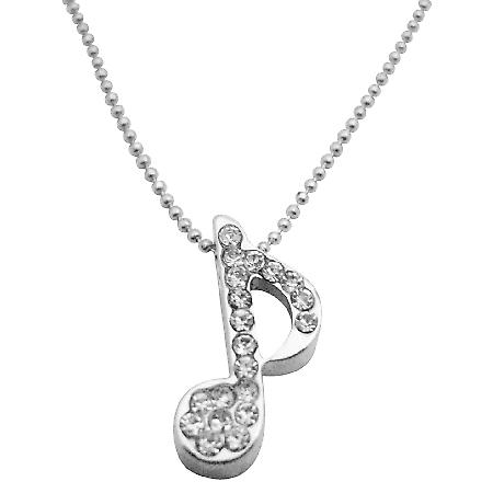 Musical Note Sparkling Diamante Pendant Fully Embedded w/ Cubic Zircon