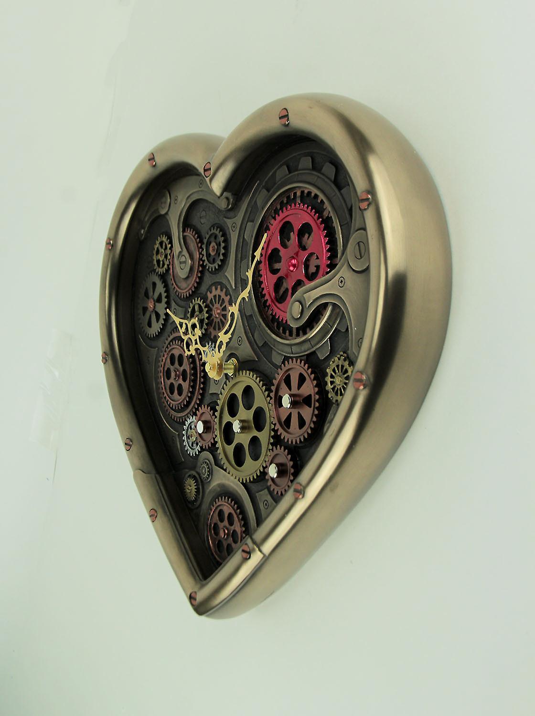 Steampunk Horloge De Déplacement Engrenages En Forme Coeur Métalliques Laiton 0wO8nXNPk