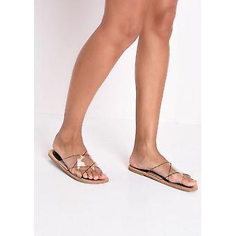 Plexiglas überqueren Sie die flachen Sandalen Schwarz