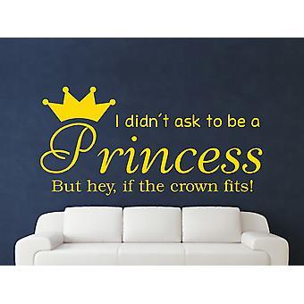 At være en prinsesse v2 væg kunst klistermærke - mørk gul