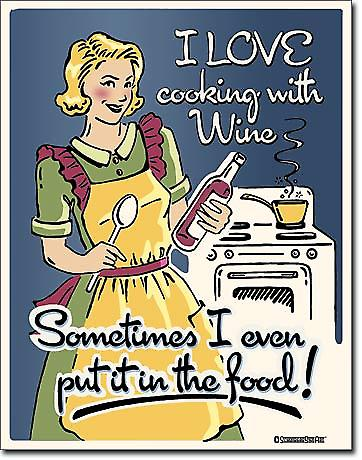 I Love Cooking With Wine metal funny wall sign   (de)