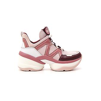 Michael Kors White/pink Leather Sneakers