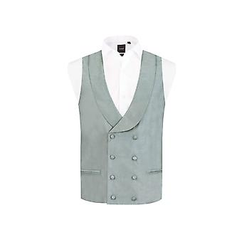 Dobell Mens Silver Waistcoat Regular Fit Double Breasted Shawl Lapel Dupion