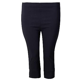 Navy pull on stretch crop trousers