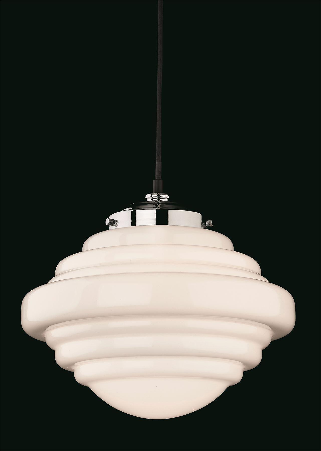 Firstlight - 1 Light Ceiling Pendant Chrome, Opal blanc Glass - 4948CH