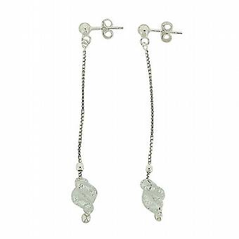 The Olivia Collection Sterling Silver Long Drop Earrings With Cream Swirl Glass