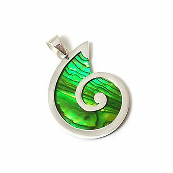 Inferno Sterling Silver Forest Green Paua Shell Pendant on 18 Inch Chain