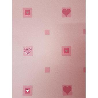 Kids Pink Love Hearts Wallpaper Metallic Silver Swirls Girl's Bedroom Nursery