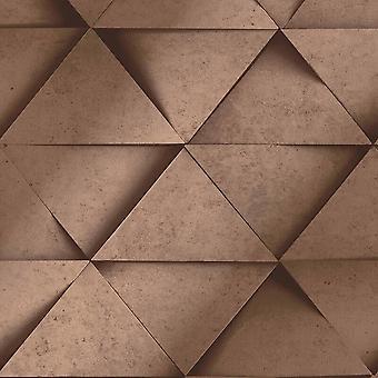 3D Effect Geometric Triangle Silver Grey Metallic Wallpaper Abstract Fine Decor