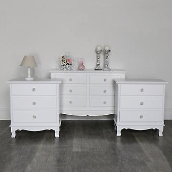 White Bedroom Set, Chest of Drawers and a Pair of Bedside Chests - Lila Range