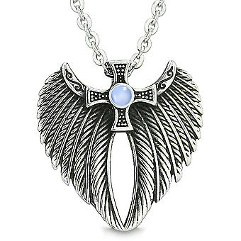 Angel Wings Celtic Viking Cross Magic Powers Amulet Sky Blue Simulated Cats Eye Pendant 18 inch Necklace