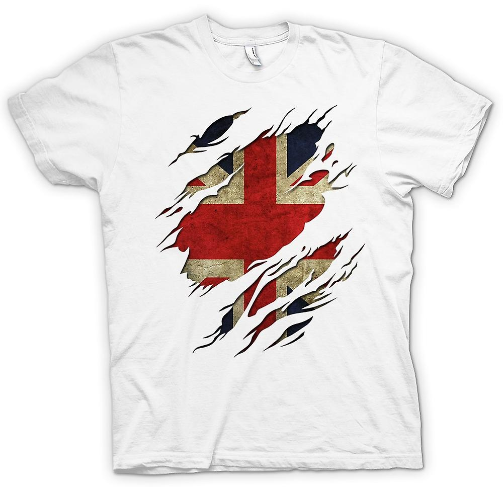 Womens T-shirt - Union Jack Flag Grunge Ripped Effect