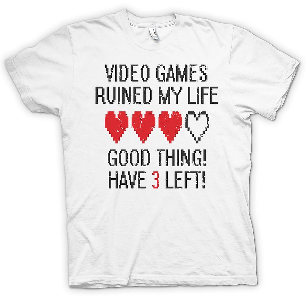 Womens T-shirt - Video Games Ruined My Life - Have 3 Left