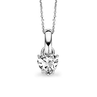 PENDANT WITH CHAIN 925 SILVER WHITE HEART-SHAPED ZIRCONIUM