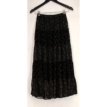 Linea by Louis Dell'Olio Printed Tiered Maxi Black Skirt A199793