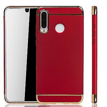 Huawei P30 Lite Handy Hülle Schutz Case Bumper Hard Cover Rot
