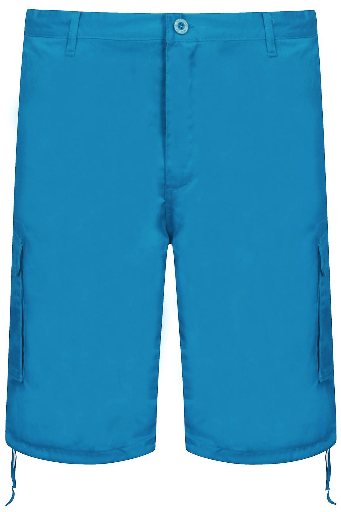 NOIZ Turquoise Cotton Cargo Shorts With Pockets