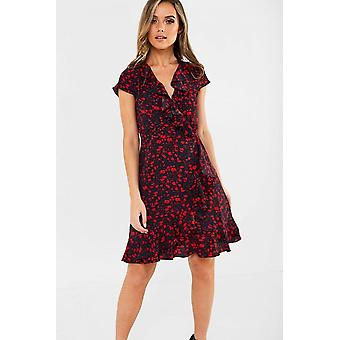 iClothing Sofia Red Floral Wrap Dress-14