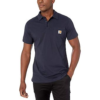 Carhartt Men's Force Cotton Delmont Pocket Polo (Regular and, Navy, Size Small