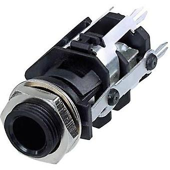 6.35 mm audio jack Socket, vertical vertical Number of pins: 5 Stereo Black Rean AV RJ5VI-D1-CON 1 pc(s)