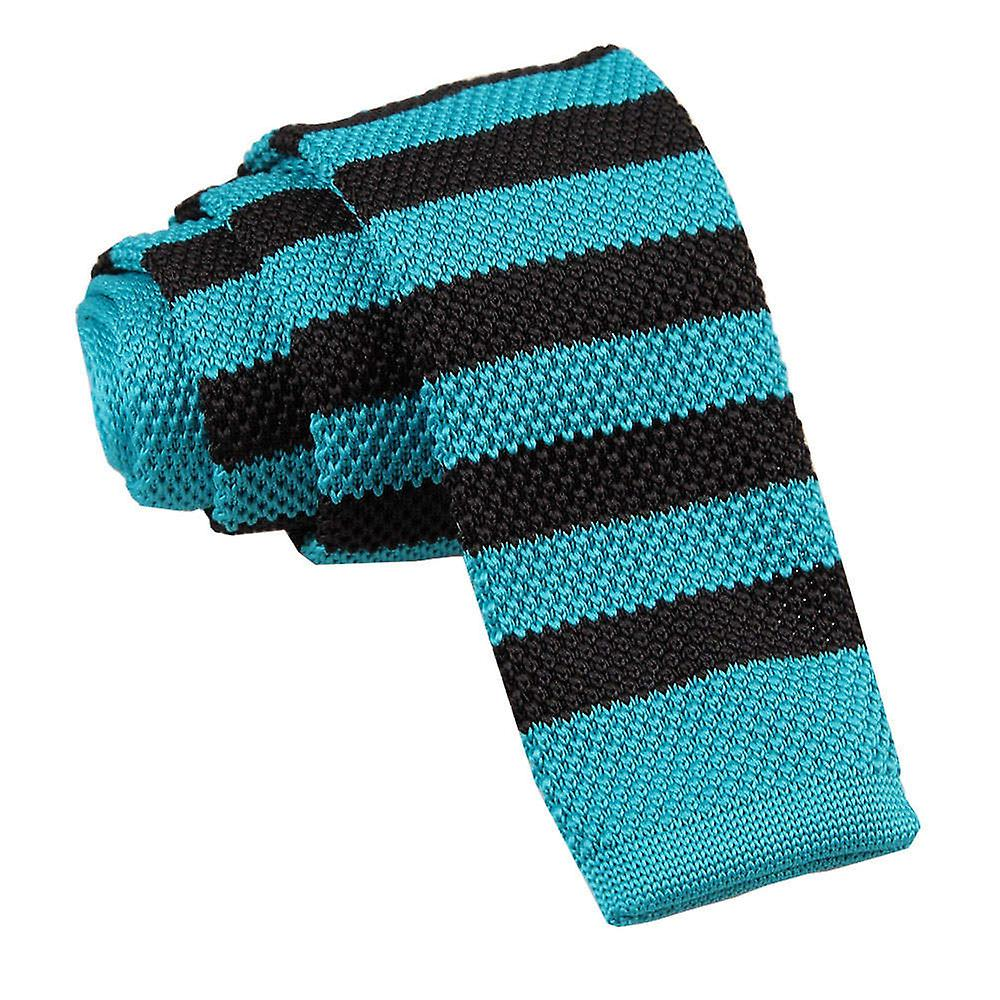 Robin's Egg Blue & Black Striped Skinny Knitted Tie