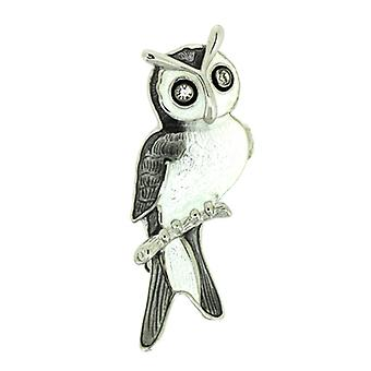 Fine Enamels Sterling Silver Swarovski Crystals Owl Brooch